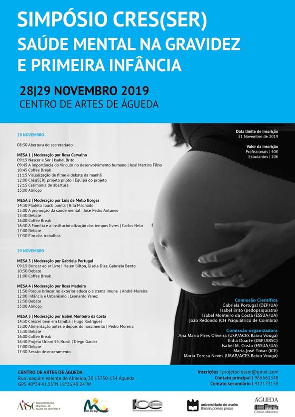 """Simpósio Cres(SER) """"Saúde Mental na gravidez e primeira infância"""" - 28 e 29 de novembro de 2019 no CAA"""