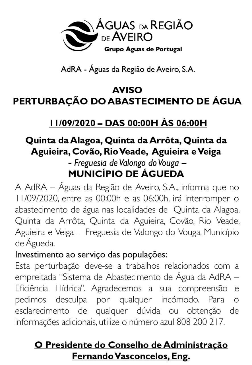 Interrupção do abastecimento de água - 11/09/2020