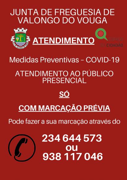 ATENDIMENTO PRESENCIAL SÓ POR MARCAÇÃO PRÉVIA
